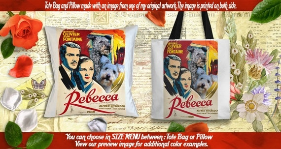 Pumi Pillow or Tote Bag/Pumi Art/Pumi Portrait/Dog Tote Bag/Dog Pillow/Dog Art/Custom Dog Portrait/Rebecca Movie Poster NEW Collection