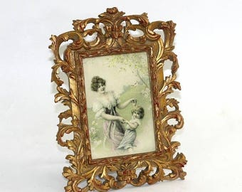 SALE Ornate Picture Frame Gold 5 x 7 | Single Picture Frame Fancy Art Nouveau | Victorian Style Picture Frame | Gold Photo Frame