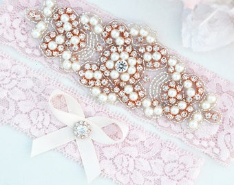 Rose Gold Crystal pearl Wedding Garter Set, Stretch Lace Garter, Rhinestone Crystal Bridal Garters