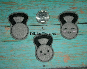 Kettlebell Feltie - Kawaii Workout and Exercise Felt Crafts -  Great for Hair Bows, Reels, Clips, Planner and Craft Projects - Your Choice