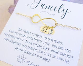 Personalized Infinity bracelet, family initials, gift for mom, holiday gift, meaningful card, monogram jewelry, adjustable chain, otis b