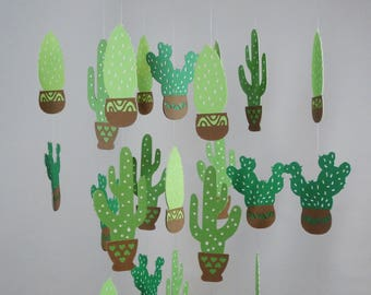 Cactus Baby Mobile, Green Nursery, Cacti Ceiling Decoration