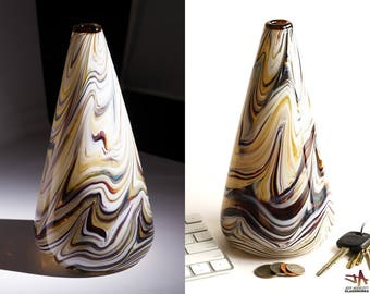 Hand Blown Art Glass Vase - Cone Shape with Abstract Earth Tone Streaks