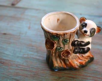 Handpainted Panda Planter, Succulent Planter, Vintage Planter, Green Decor, Indoor Garden, Boho Planter, Panda Bear, Animal Planter
