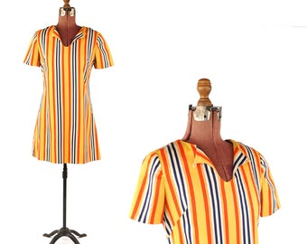 Vintage 1960's Mod Yellow Red + Navy Bold Stripe Mini Mod Retro Shift Scooter Dress S
