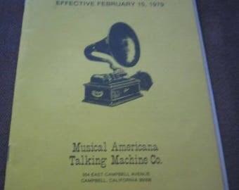 Parts Catalog 5 Musical Americana Talking Machine Co  Campbell, Ca  1979