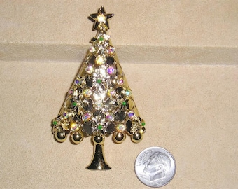 Vintage Signed Tancer II Mylu Iridescent Crystal Rhinestone Christmas Tree Brooch 1970's Pin Jewelry 7037