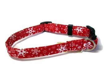 Red and White Snowflake Dog Collar size Small