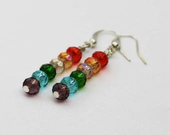LGBT Pride Gay and Lesbian Glamour Earrings Faceted Glass Jewelry