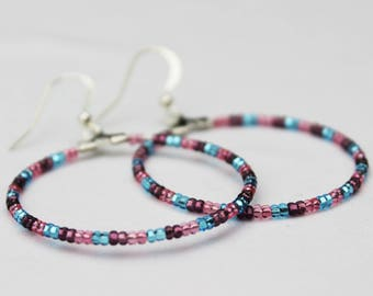 Bisexual Pride Czech Beaded Hoop Earrings LGBT LGBTQ