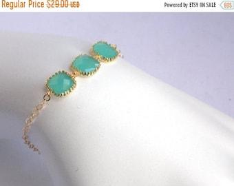 SALE Mint Bracelet, Glass Bracelet, Aqua Gold Bracelet, Turquoise 14K Gold Filled, Wedding Jewelry, Bridesmaids Bracelet, Bridesmaid Gifts