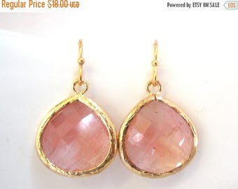 SALE Peach Earrings, Glass Earrings, Coral, Bridesmaid Jewelry, Gold, Pink, Grapefruit, Bridesmaid Earrings, Bridal Jewelry, Bridesmaid Gift