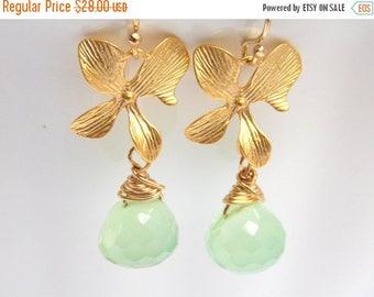 SALE Green Earrings, Mint, Apple Green, Chalcedony Earrings, Gold Orchid Earrings, Gold Filled Earrings, Bridesmaid Gifts, Bridesmaid Earrin