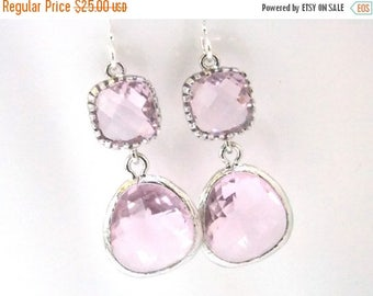 SALE Pink Earrings, Glass Earrings, Silver Earrings, Soft Pink Wedding, Bridesmaid Earrings, Bridal Earrings, Bridal Jewelry, Bridesmaid Gif