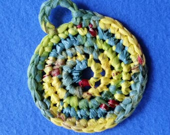 Green and Yellow Plarn Dish Scrubby, recycled plastic bags, eco-friendly dish scrubber