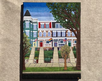 Mount Pleasant, 18x24 inches, original sewn fabric artwork, ready to hang canvas