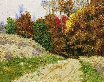 "Original Impressionist Oil Impasto Landscape ""Entrance to the Forest ,Autumn"" 11x14."