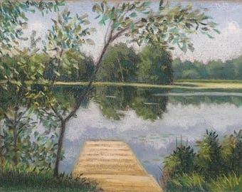 "Original Pastel painting ""The Dock"" 8x10"