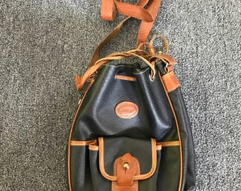 Vintage Soco Paris Black Coated Canvas and Brown Leather Drawstring Handbag