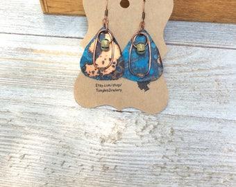 Patina Guitar Pick Earrings , Tribal Style Earrings