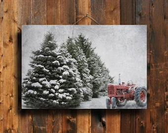 Christmas on the Farm - Christmas art - Christmas decor - Winter decor - Winter farm - Red tractor - Old tractor