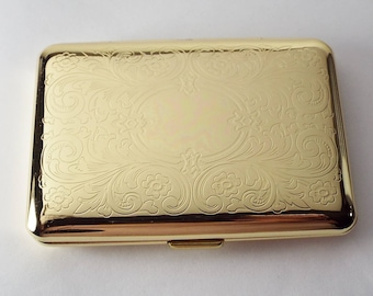 Personalized Custom Engraved Golden Business Card Case or Kings Cigarette Case Double Sided Scroll Design  -Hand Engraved