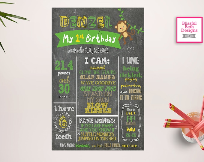 MONKEY CHALKBOARD POSTER, First Birthday Chalkboard Sign, Printable 1st Birthday Chalkboard Poster, Personalized Custom Sign