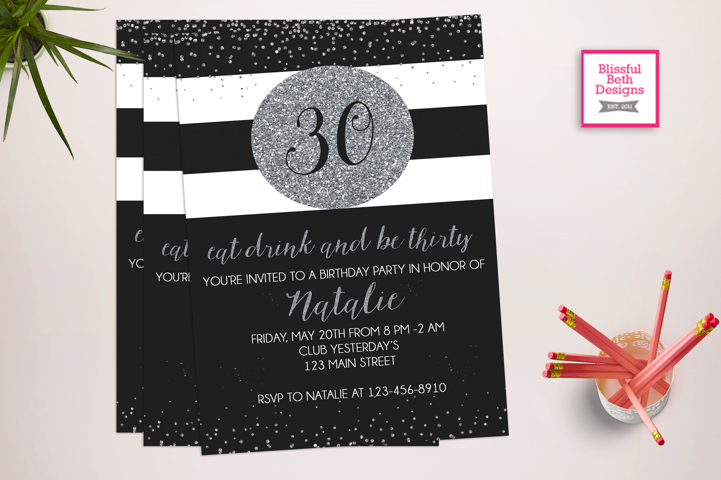 Black Silver th Birthday Invitation Eat Drink and Be Thirty