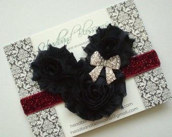 SALE MINNIE MOUSE Black Chiffon Flowers with Rhinestone Bow on Red Glitter Elastic Headband - Newborn Baby - Photo Prop Disney Vacation Head