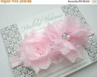 SALE Beautiful Pale Pink Chiffon Flower Headband with Pearl Rhinestone Center - Newborn Baby - Flower Girl - Photo Prop - Wedding