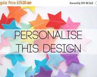 SALE Custom Felt Star Garland - Customised Personalized - Choose your colours
