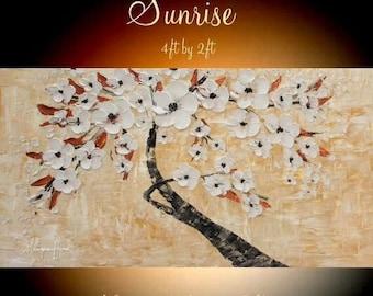 "SALE XLARGE  Tree Of Life Oil Landscape Abstract Original Modern 48"" palette knife impasto oil painting by Nicolette Vaughan Horner"