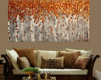 SALE Birch Trees Original  Gallery Canvas Painting Landscape Palette Knife,Fall Colors by Nicolette Vaughan Horner