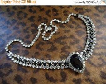 Now On Sale Vintage Rhinestone Necklace Collectible Retro Rockabilly Glam Jewelry