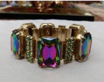 ON SALE Rare Vintage Watermelon Rhinestone Bracelet Green Pink Purple 1950's 1960's Collectible Jewelry Mad Men Mod Jewelry