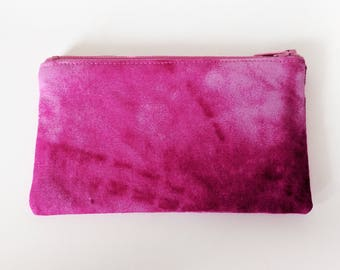 Zippered Coin Purse with Pink Print and Card Slot
