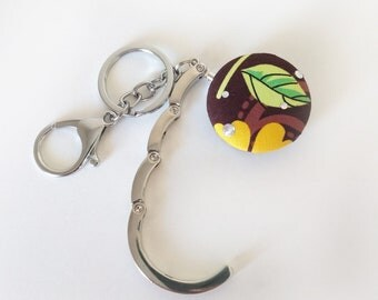 Handbag Hook Key Ring and Bag Charm, Purse Hook Hanger Key chain, Bag Hook, Folding Purse Hanger in Brown Floral
