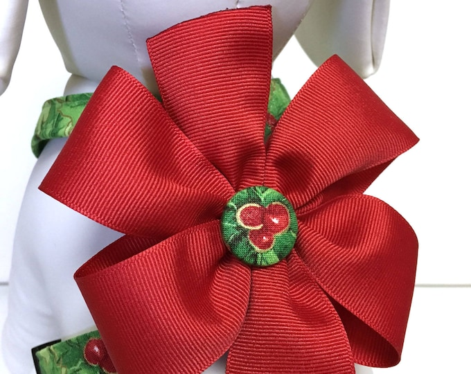 Featured listing image: Dog Harness- The Noel- With Removable Red Bow- Adjustable Harness