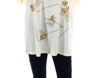 Vintage 80s Stephen Y Cream Gold Floral Detail Oversize Top Shirt UK 14 16 US 12 14
