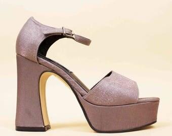 90s Vtg Deadstock Silver SHIMMER Chunky Platform Ankle Strap Sandal  / Sky High Heel GLAM Disco Mary Jane / 5.5 Eu 35.5