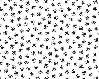 20 % off thru 7/4 PAW PRINTS black on white Michael Miller dog cat quilters cotton fabric LAST Yard Cx5456-ebon