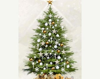12% off thru July WHITE CHRISTMAS Northcott glittery panel cotton quilt fabric tree on white GL21175