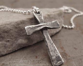 Sterling Silver Cross Jewelry Handmade Necklace for Men or Women
