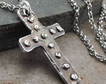 Antique Medieval Christian Cross Sterling Silver Pendant Necklace Handmade Jewelry for Men or Women