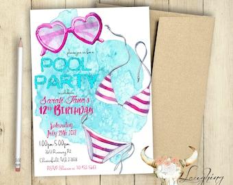 Pool Party Einladung Geburtstag Party Einladung Pool Partei Teen Geburtstag  Sonnenbrille Bikini Aquarell Unter