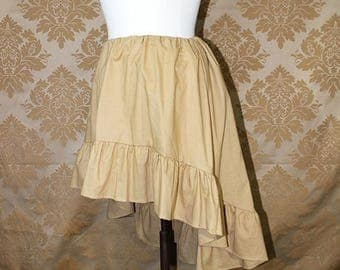 """HALF OFF High Low Mini Cecilia Skirt -- Wheat Cotton -- Ready to Ship -- Fits Up To 38"""" Waist"""