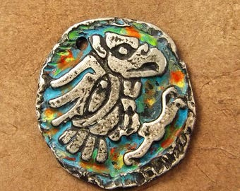 Aztec Eagle - Hand Cast Rustic Pewter Focal Pendant with Patina - Ancient Relic