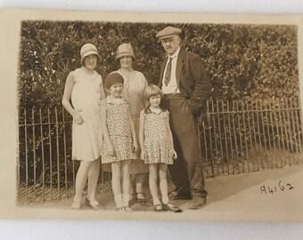 Vintage 1915 original black and white family portrait Postcard