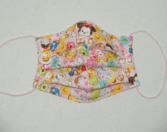 """Premade Pleated Double Gauze Facial Mask for Teens and Adults """"Tsum Tsum - Pink Stripe"""" & Tio Tio Antibacterial Gauze"""" Size S"""