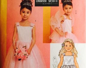Butterick B4720, Size 2-3-4-5, Children's Dress and Wrap Pattern, UNCUT, Party Dress, Wedding, Formal, Lauren Scott Designer, Toddler